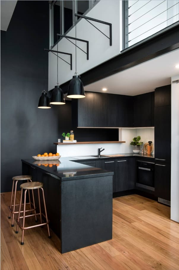 Black Interior Design Ideas and Tips to Make Your Interior. Modern industrial directed design of the two-level apartment with laminated flor