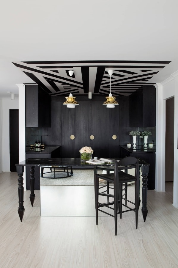 Black Interior Design Ideas and Tips to Make Your Interior. Nice black and white pattern at the ceiling of modern kitchen