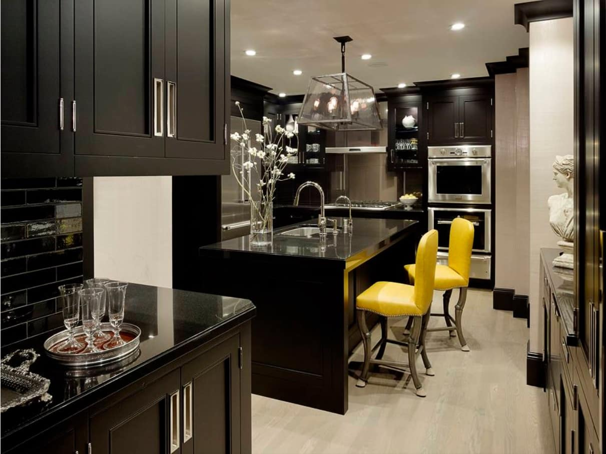 Black Interior Design Ideas and Tips to Make Your Interior. Dark interior with yellow diluting chairs
