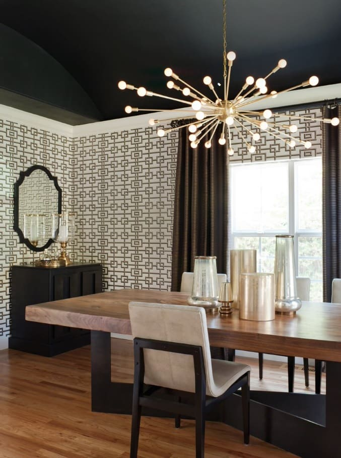 Black Interior Design Ideas and Tips to Make Your Interior. Dotted wallpaper and starburst chandelier in the dining room with large solid wood table