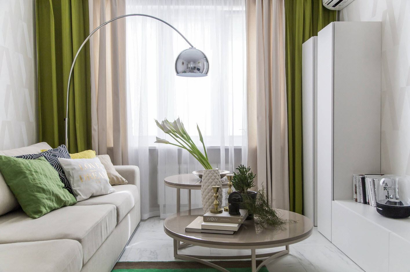 White Living Room: Different Style Interiors with Photos. Green tulle curtains and round coffee tables