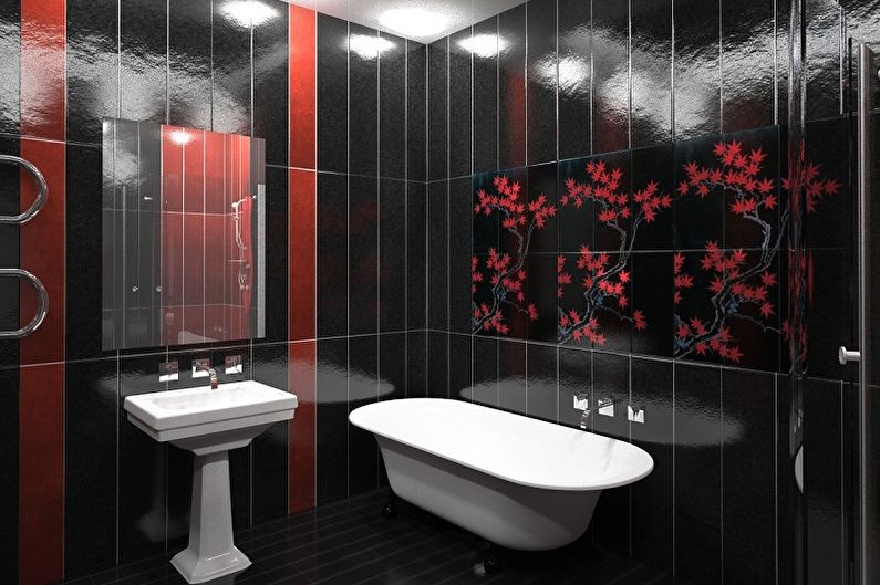 Black Bathroom Interior Design Ideas with Photos and Remodeling Advice. Red accents at the bathtub wall