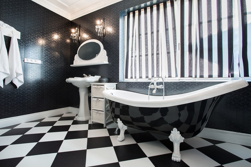 Black Bathroom Interior Design Ideas with Photos and Remodeling Advice. Checkered floor tile