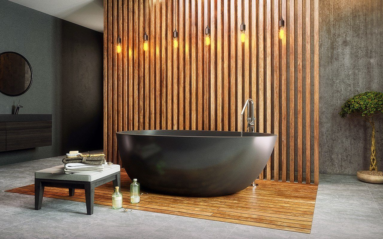 Wooden lattice at the wall creates a stage for chic black bathtub