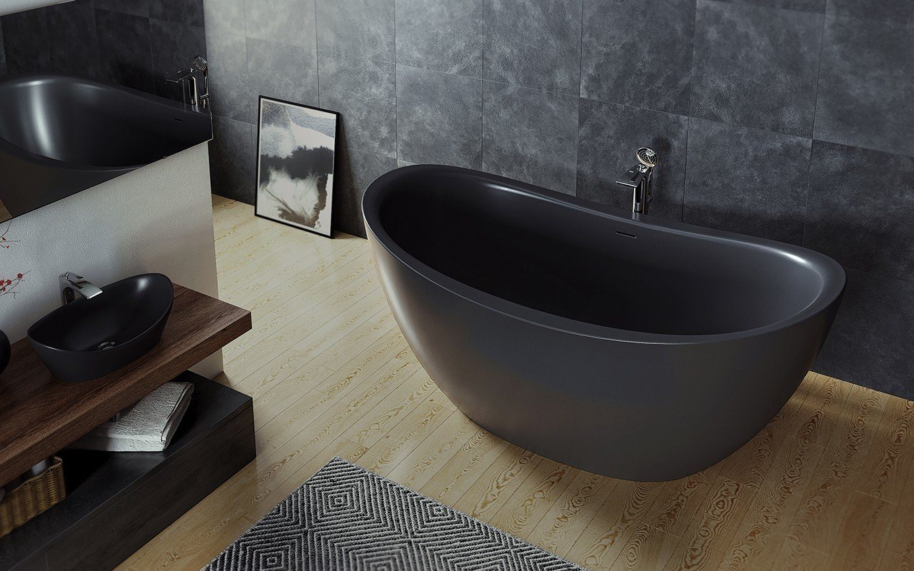 Black Bathroom Interior Design Ideas with Photos and Remodeling Advice. Chic black stone bathtub