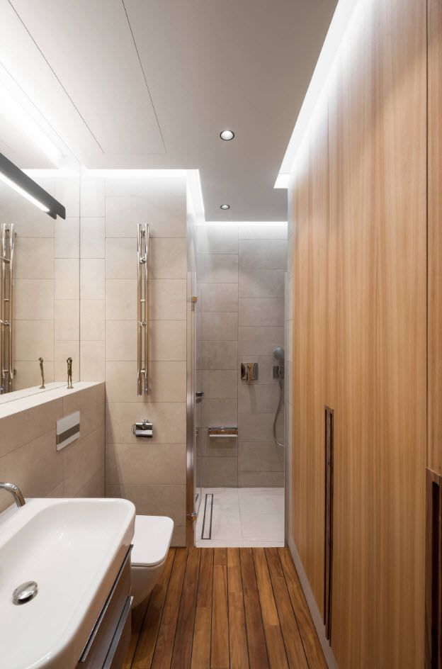 Bathroom Wall Finishing Materials Overview. LED lighting and wood imitating wall panels