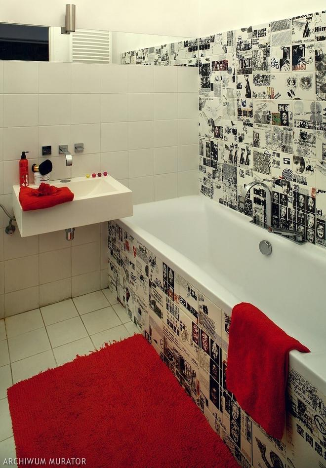 Bathroom Wall Finishing Materials Overview. Photoart tile and red accents