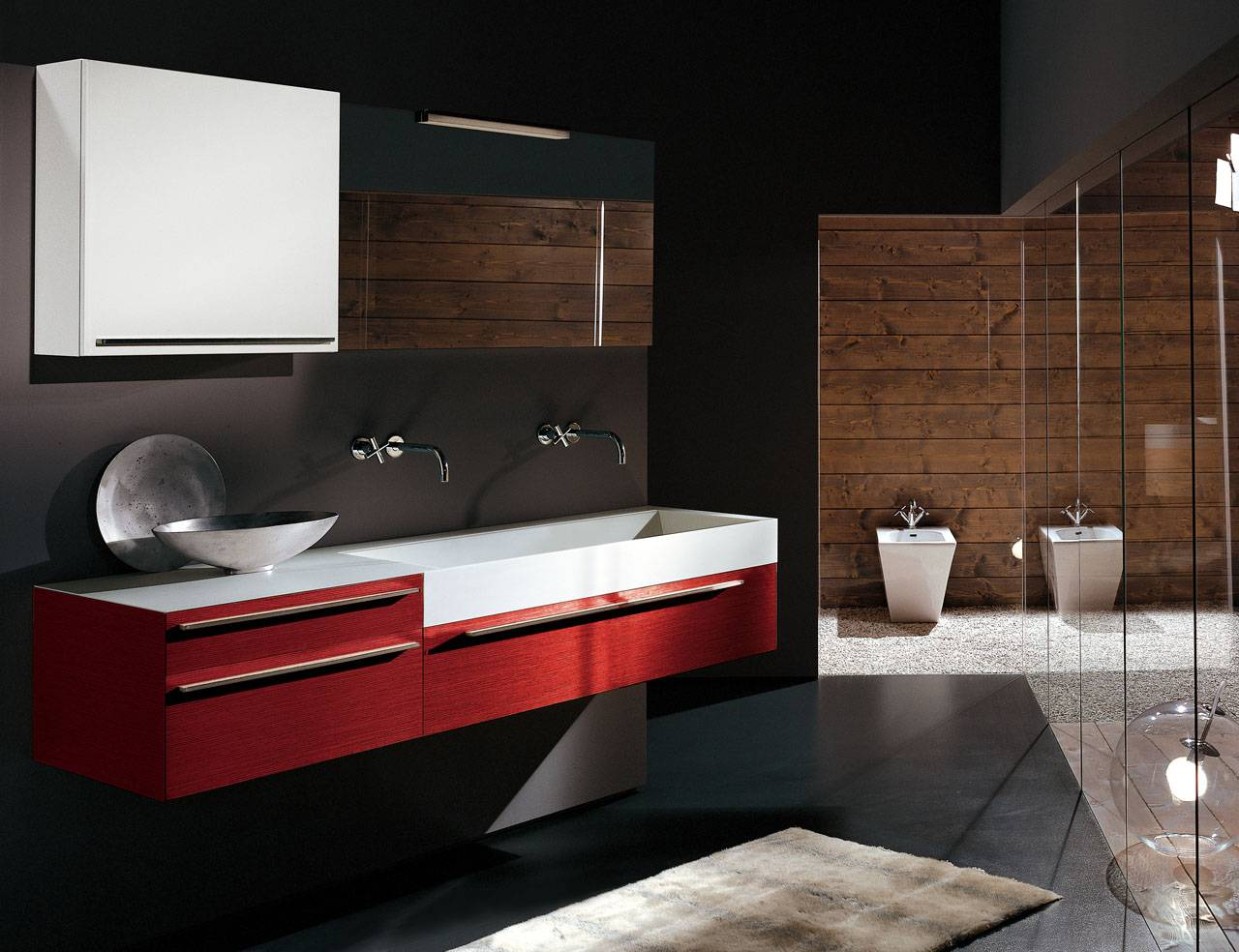 Black Bathroom Interior Design Ideas with Photos and Remodeling Advice. Red vanity and wooden wall of the contemporary styled area
