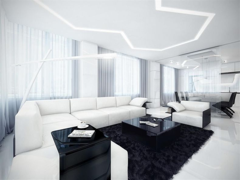 White Living Room: Different Style Interiors with Photos. Sparkling top and black bottom of the high-tech designed room