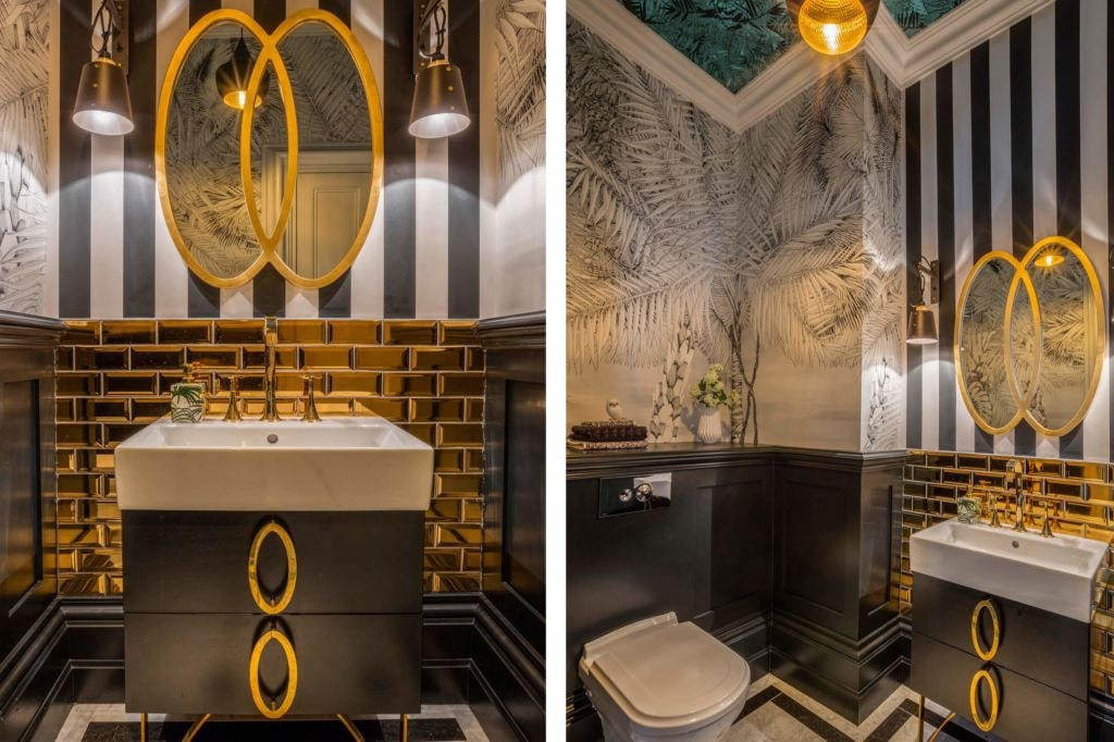 Black Bathroom Interior Design Ideas with Photos and Remodeling Advice. Gold and amber tints in the Classic atmosphere