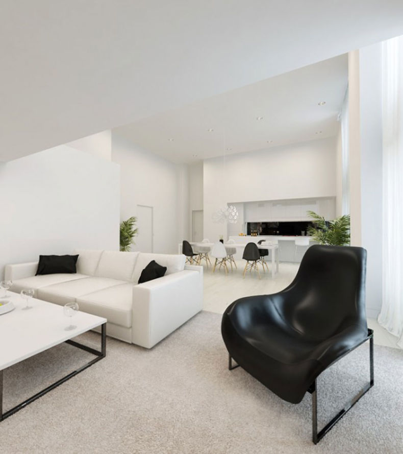 White Living Room: Different Style Interiors with Photos. Monochromatic modern atmosphere and black accent of chair