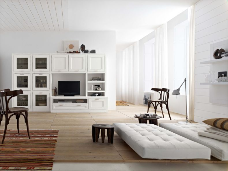 White Living Room: Different Style Interiors with Photos. Chic quilted sofa for large modern room