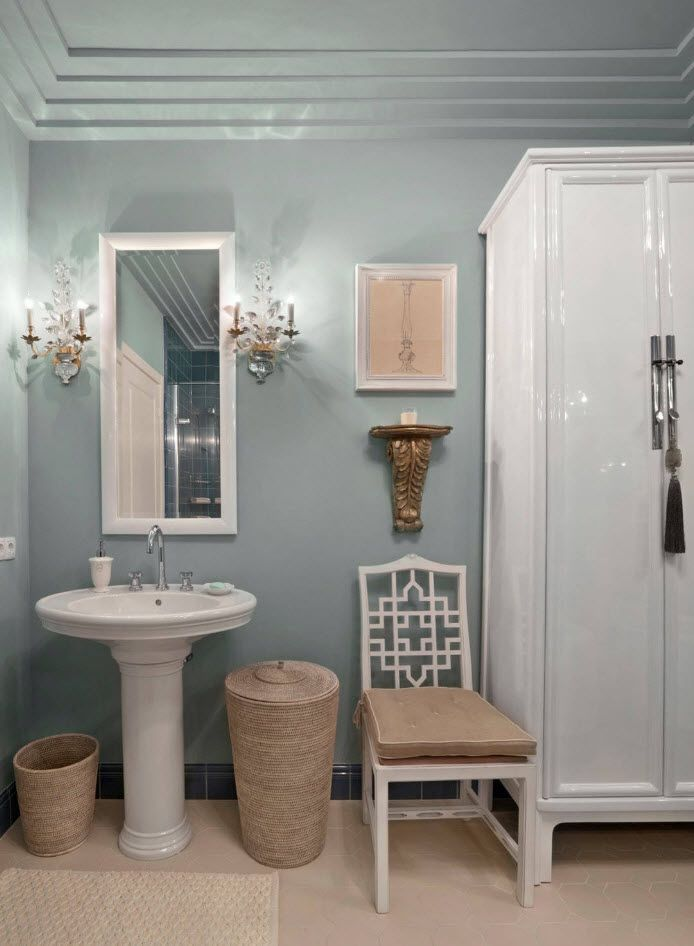 Bathroom Wall Finishing Materials Overview. Turquoise colored walls at classic atmosphere
