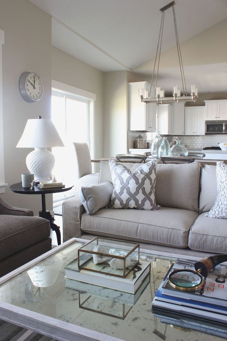 White Living Room: Different Style Interiors with Photos. Neat gray sofas in the sitting zone
