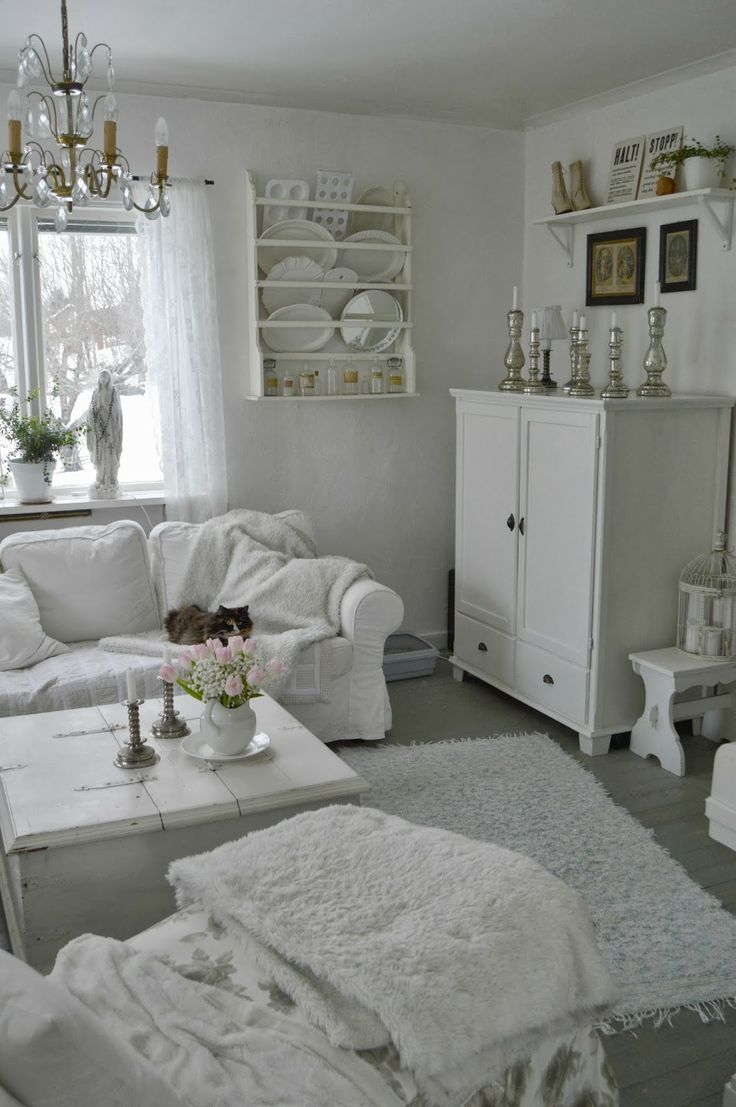 White Living Room: Different Style Interiors with Photos. Shabby chic designed room with large cupboard