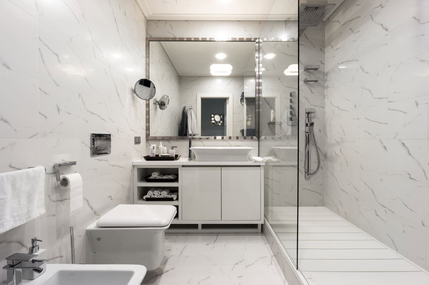 White designed bathroom with gray combination