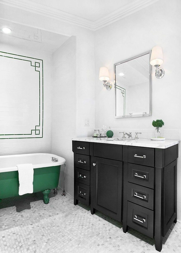 Green bathtub and black vanity for Classic styled space