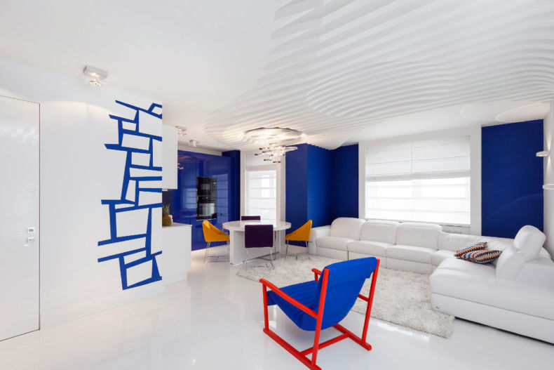 White Living Room: Different Style Interiors with Photos. Blue colored furniture and accent zones of the walls