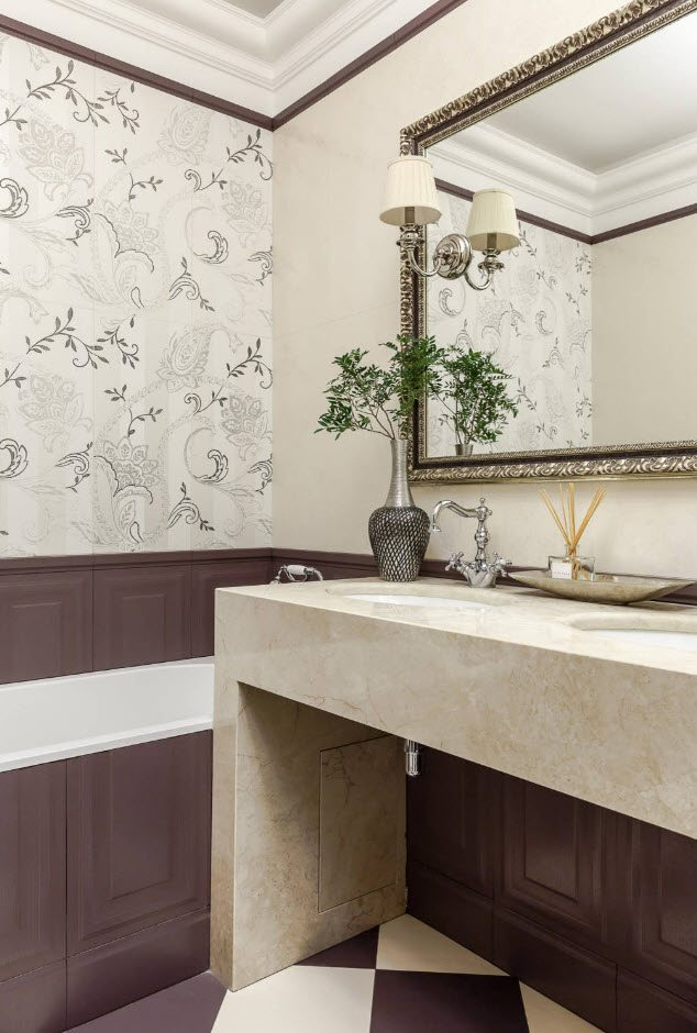 Bathroom Wall Finishing Materials Overview. Deep purple wainscoting for the casual styled space