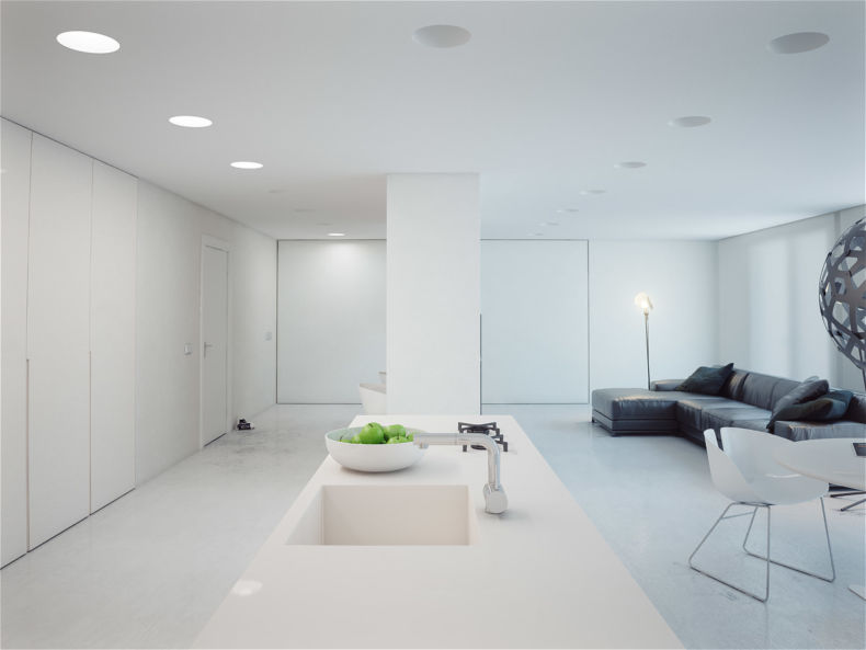 White Living Room: Different Style Interiors with Photos. Industrial open space apartment type with modern top LED lighting