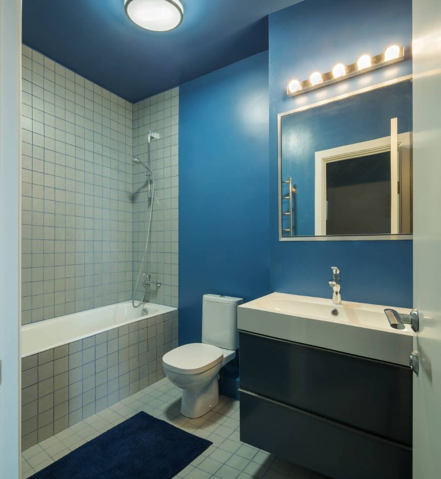 Bathroom Wall Finishing Materials Overview. Blue painted accents