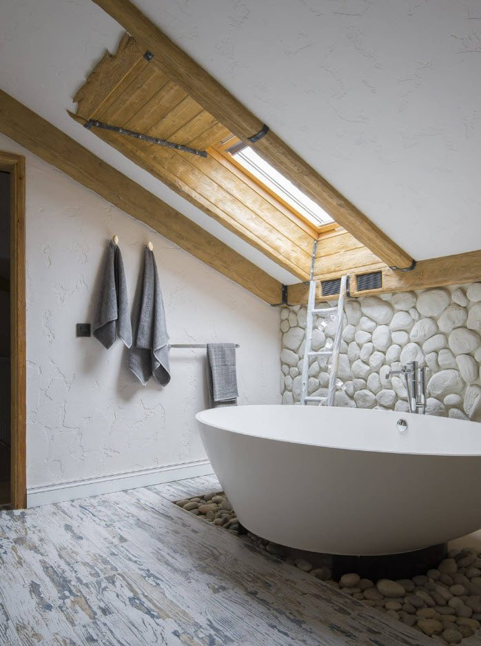 Bathroom Wall Finishing Materials Overview. Unusual loft room with wooden trimmed skylight