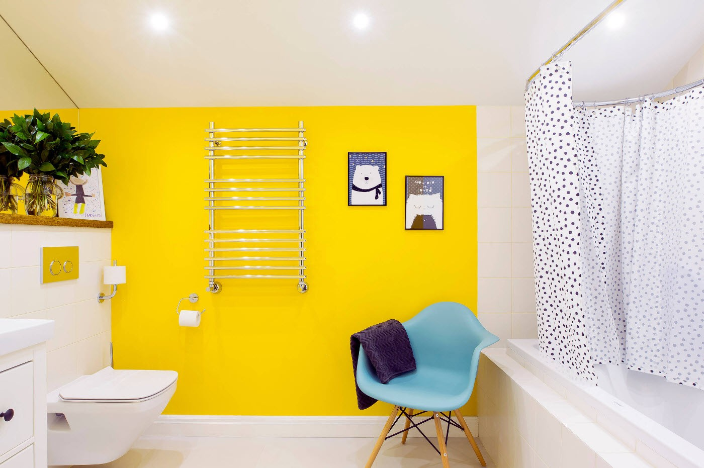 White modern bathroom with bright yellow accent wall