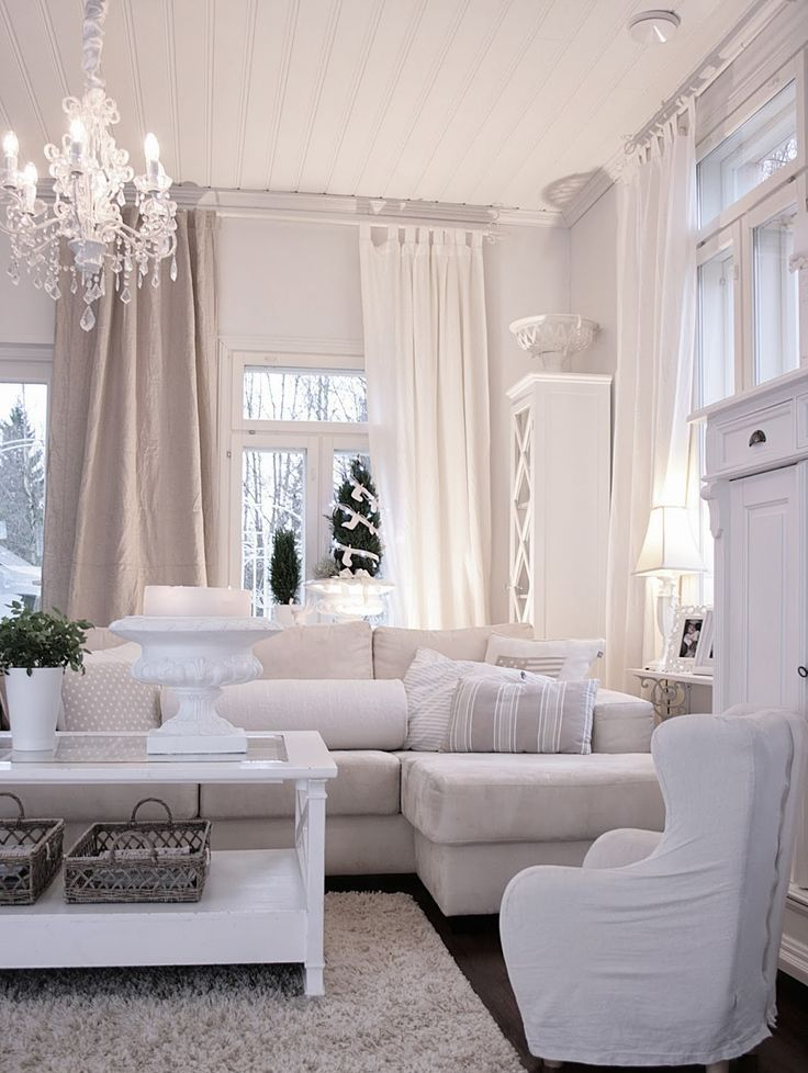 White Living Room: Different Style Interiors with Photos. Creamy curtains in light interior