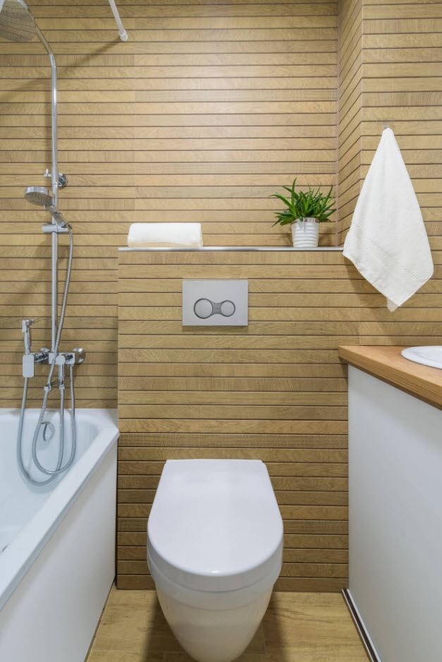 Bathroom Wall Finishing Materials Overview. Wooden sheathed space and white appliances