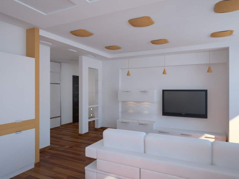 White Living Room: Different Style Interiors with Photos. Unusual lampshades at the ceiling