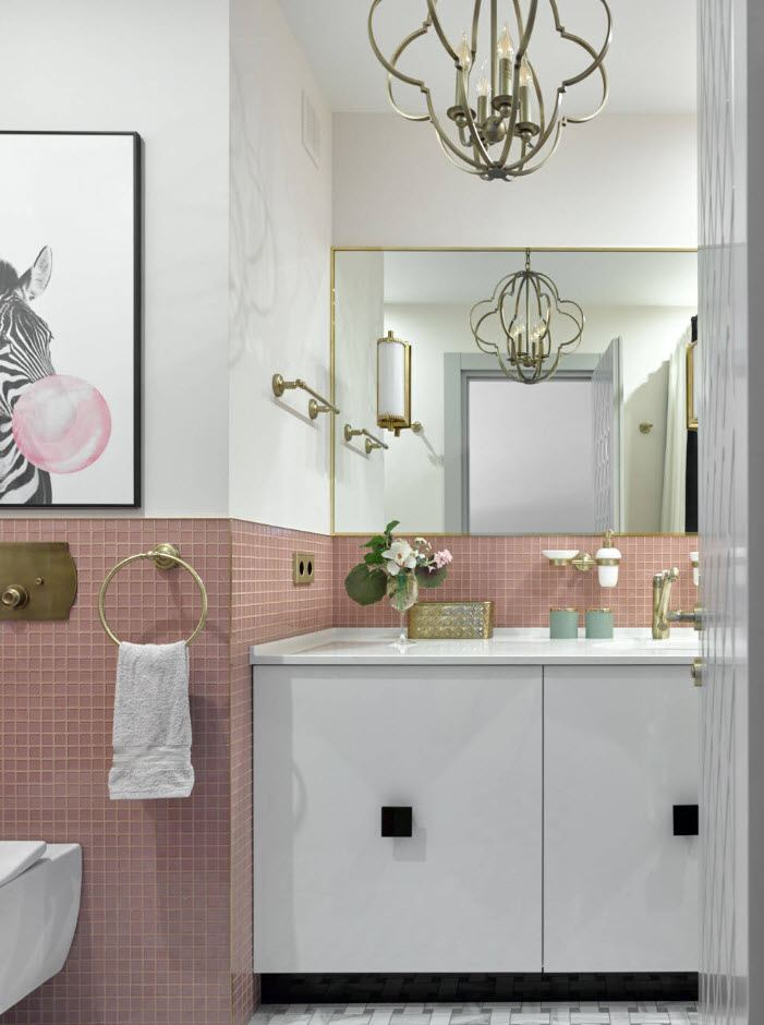 Pink powder lower wall tiling for casual bathroom