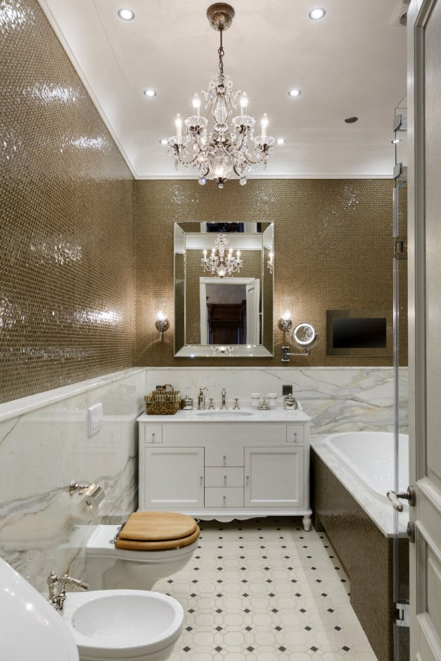 Classic interior bathroom interior with large crsytal chandelier