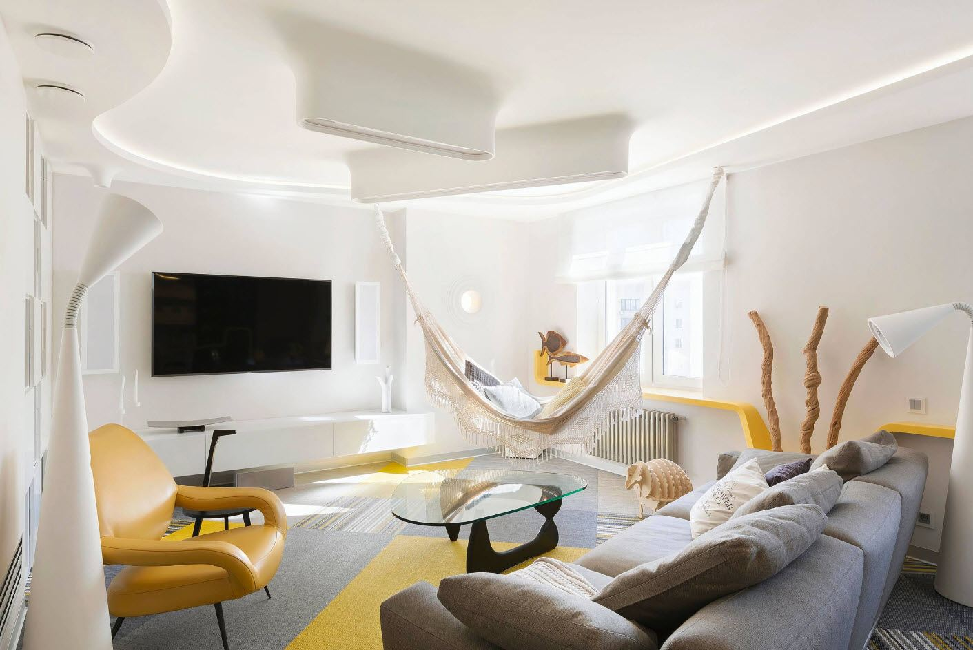 White Living Room: Different Style Interiors with Photos. Yellow accents at the modern living
