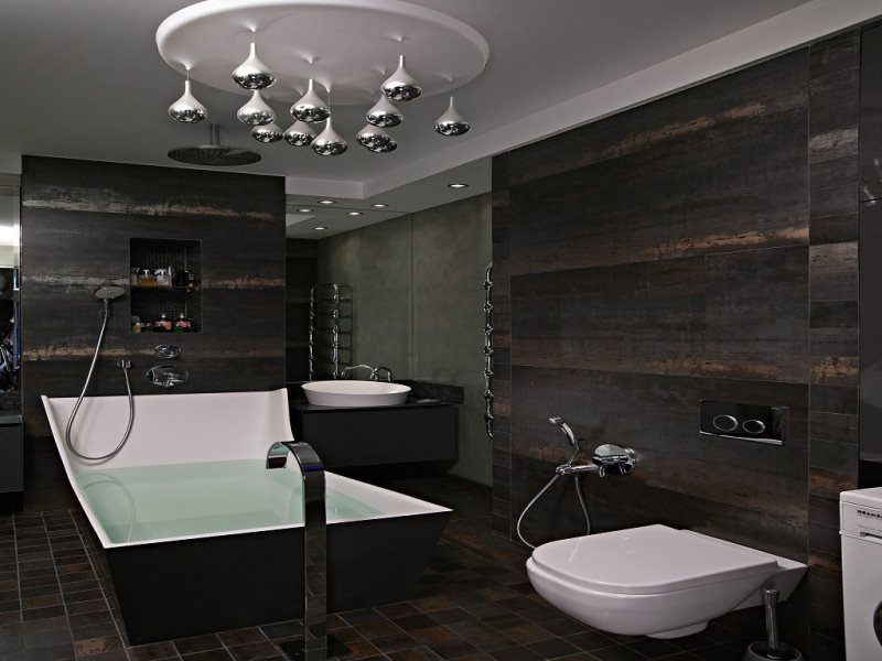 Black Bathroom Interior Design Ideas with Photos and Remodeling Advice. Great design fior large space with proper lighting system
