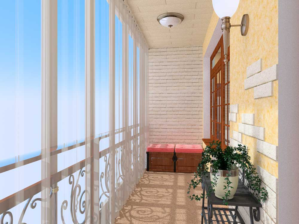 French Balcony in the Modern Interpretation and Decoration. Neat pastel colors and classic design