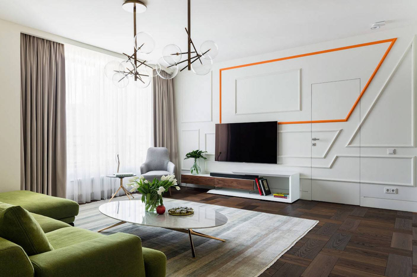 White Living Room: Different Style Interiors with Photos. Orange and green infusion to successfully designed room