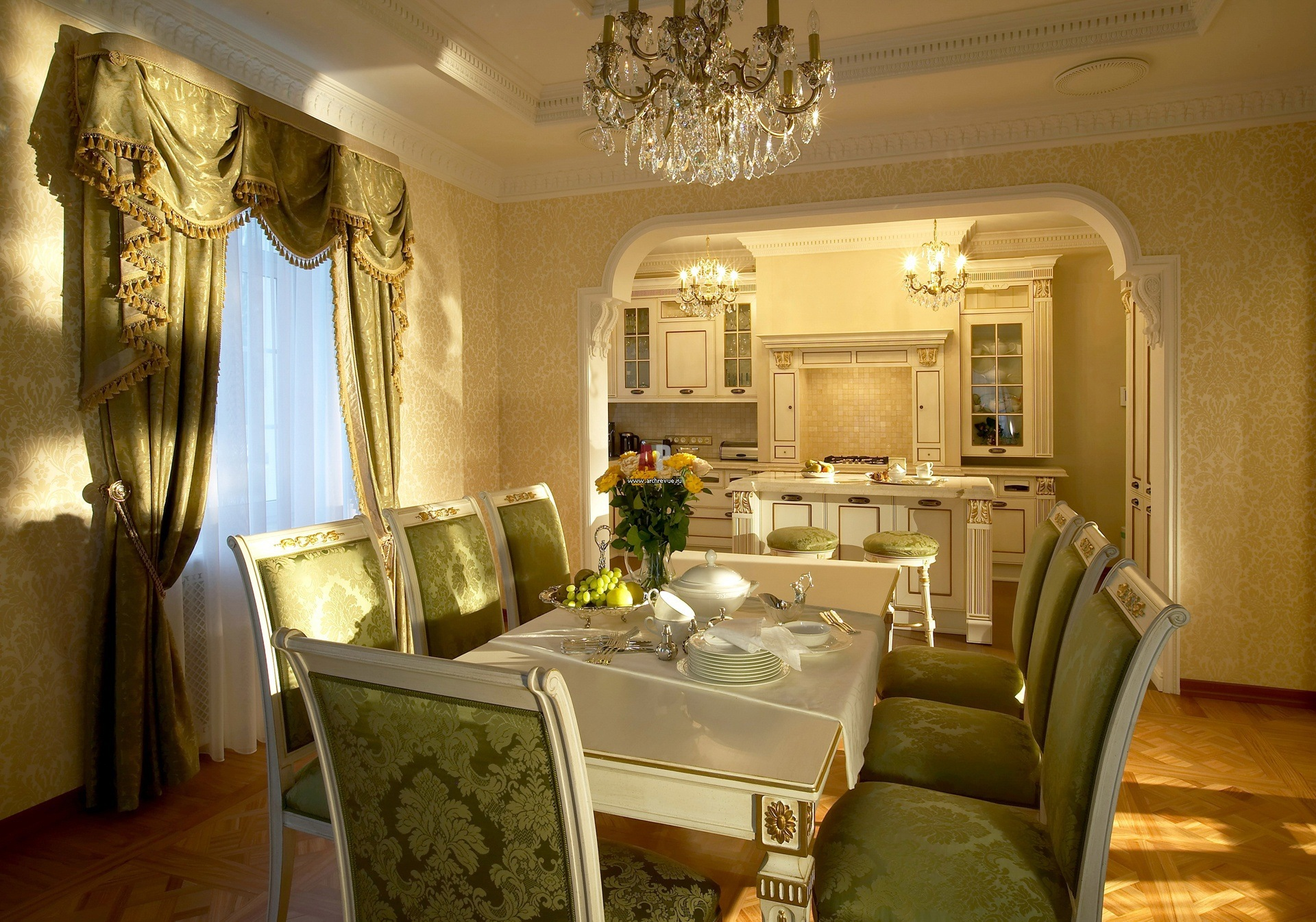 Arch in the Living Room: Unusual Design with Photos. Green designed dining area in Classic style