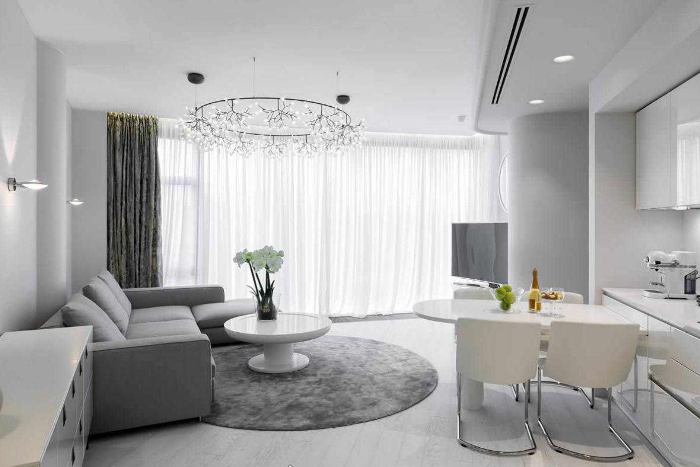 White Living Room: Different Style Interiors with Photos. Boxed open space apartment with the sitting area designated with gray rug