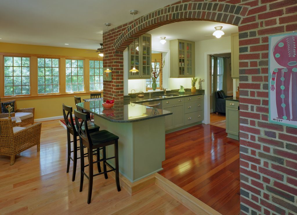 Arch in the Living Room: Unusual Design with Photos. Brick arch between the kitchen and the living