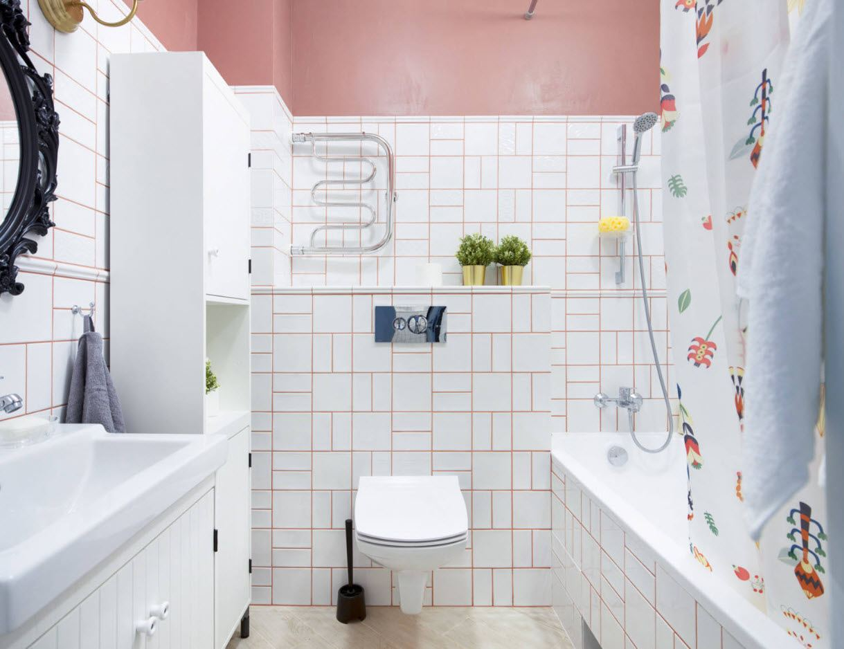 Bathroom Wall Finishing Materials Overview. Classic white and pink arrangement