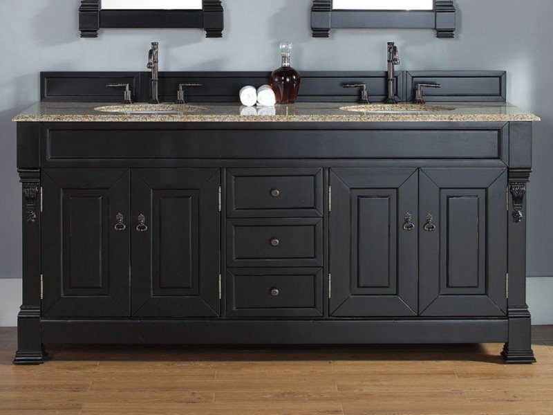 Large dark vanity for dark colored bathroom