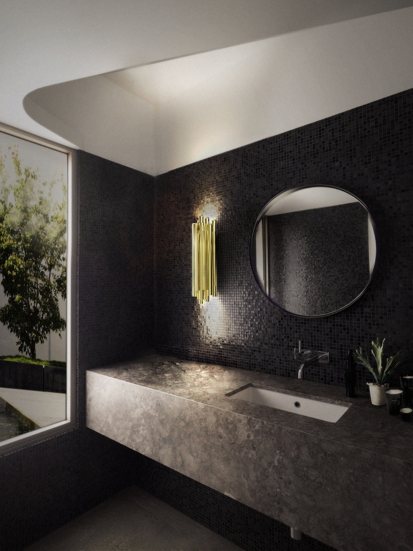 Black interior of the bathroom with shallow mosaic in two dark colors