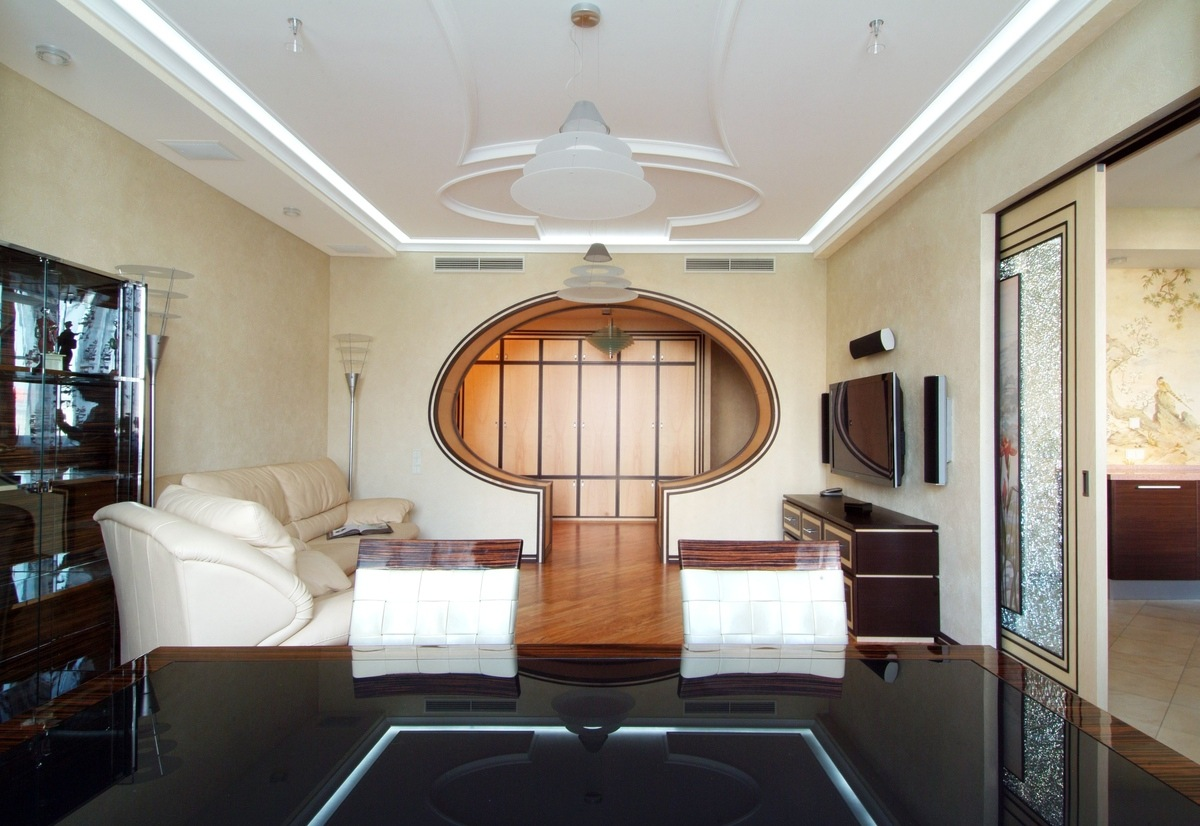 Unusual dome-form arch for contemporary style living room