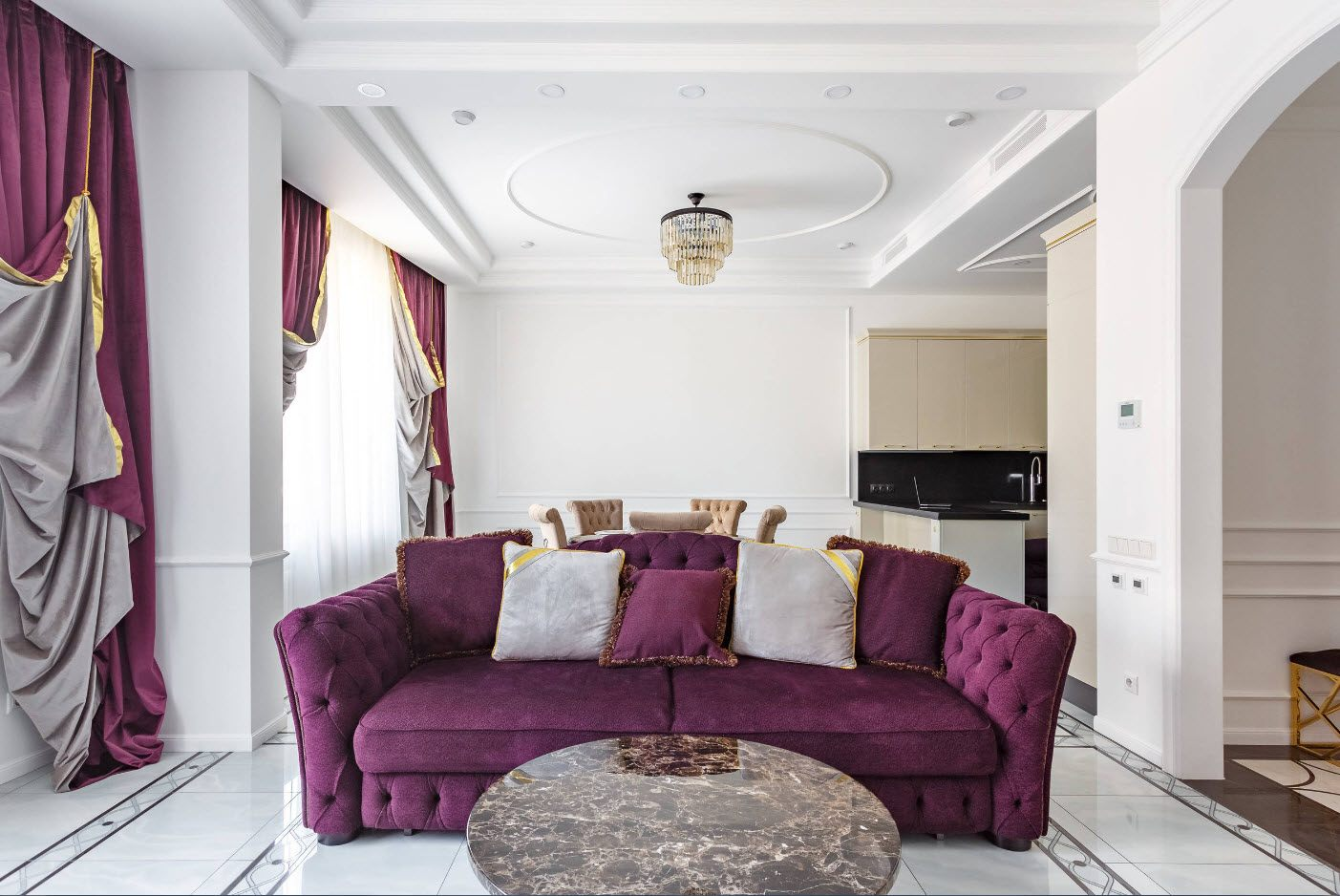 White Living Room: Different Style Interiors with Photos. Velor uphsoltered chic furniture for grandeur designed room