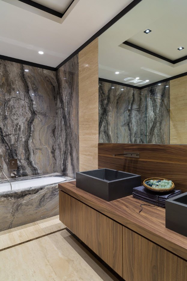 Dark marble for modern designed bathroom