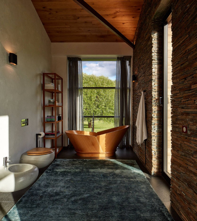 Unusual Classic incarnation with large wooden bathtub