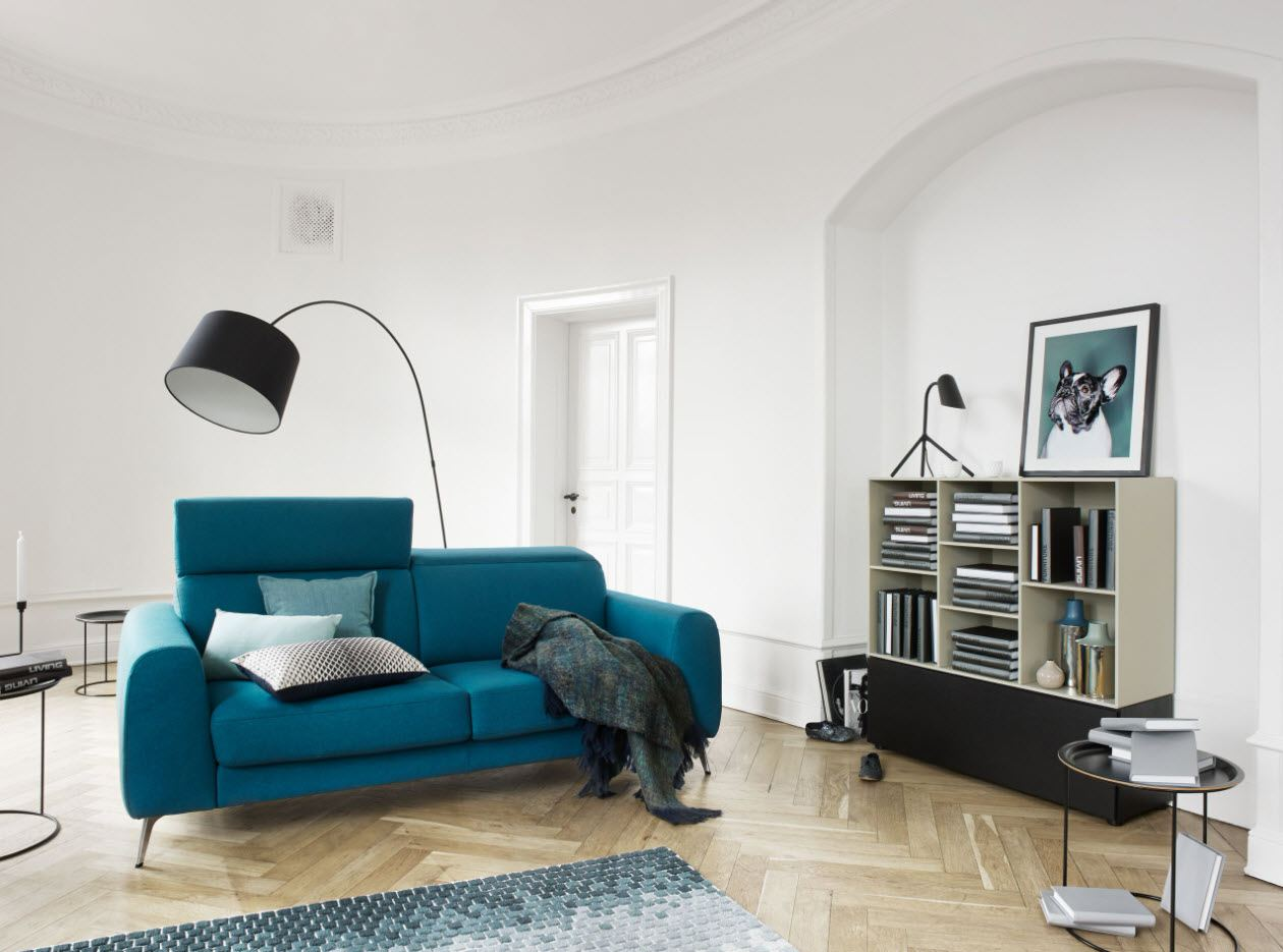 Azure blue sofa, large standing lamp and laminated floor for ideally white painted living room