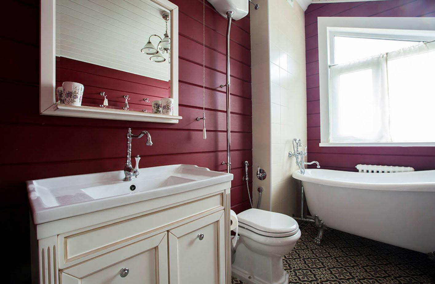 Bathroom Wall Finishing Materials Overview. Dark red walls and creamy white fruniture