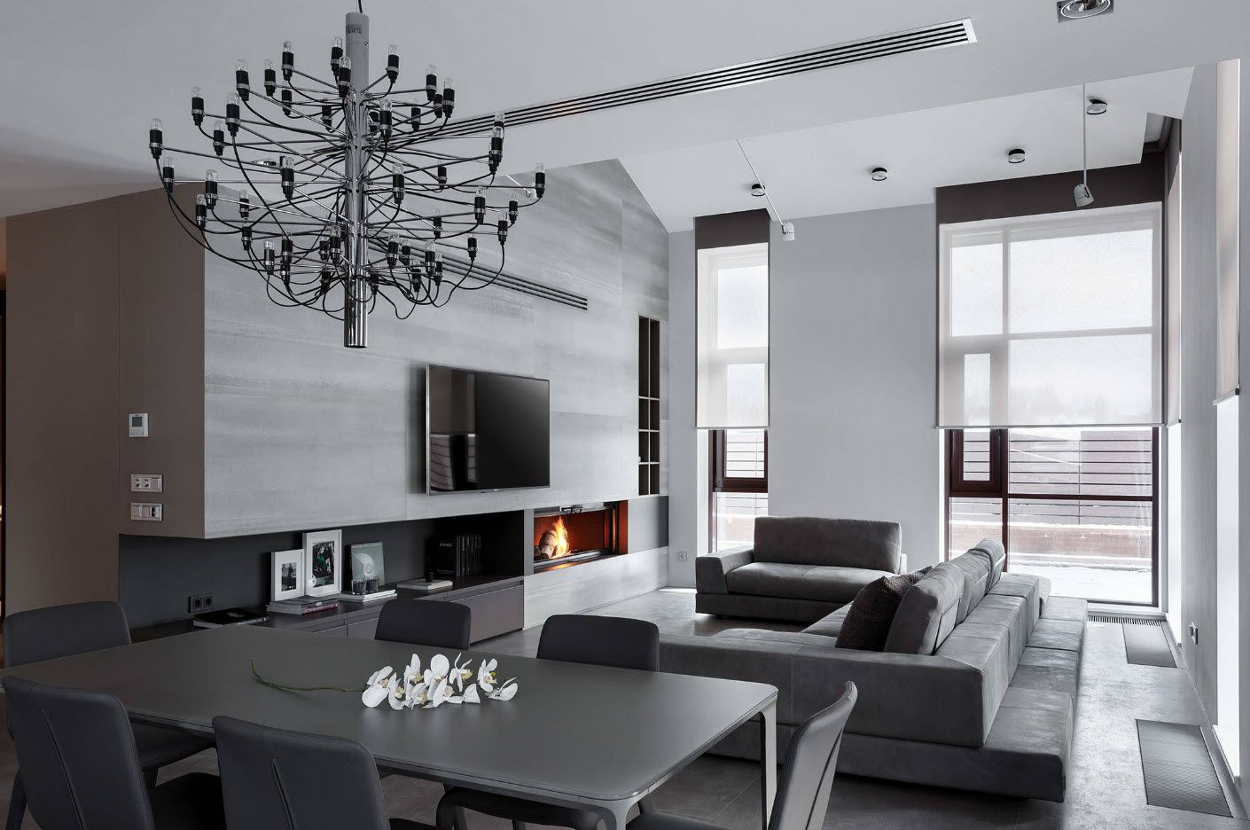 White Living Room: Different Style Interiors with Photos. Unusual gray color play in Classic interior