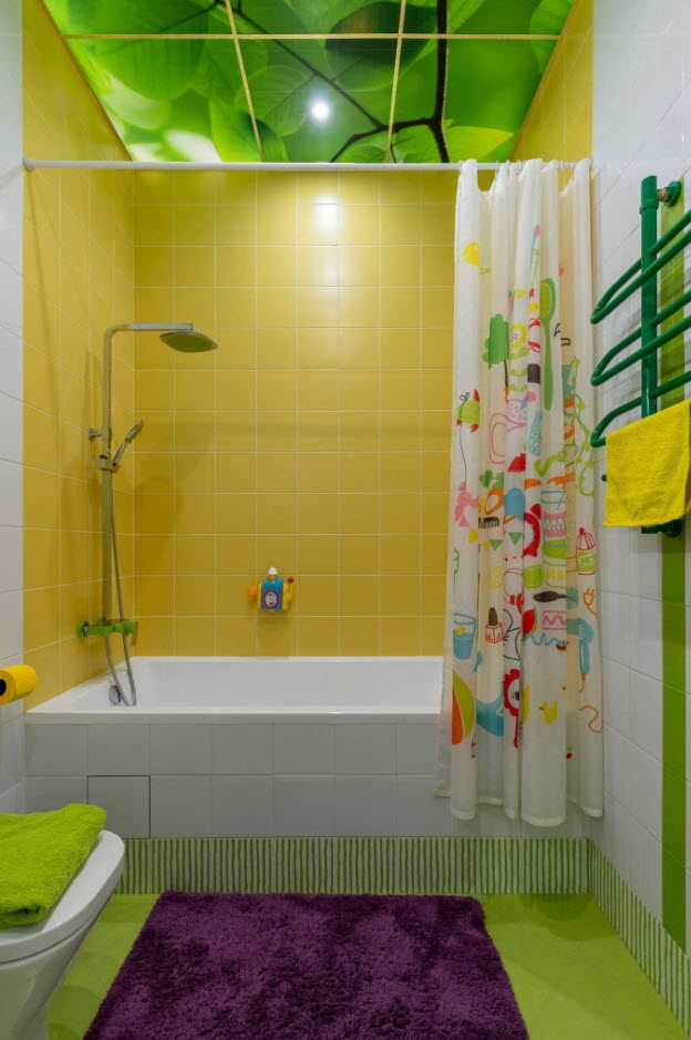 Yellow tiled bathroom walls